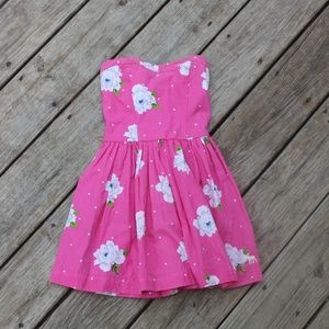Pink Floral Abercrombie Kids Strapless Dress